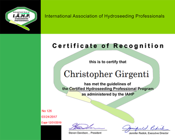 Certified Hydroseeding Contractor